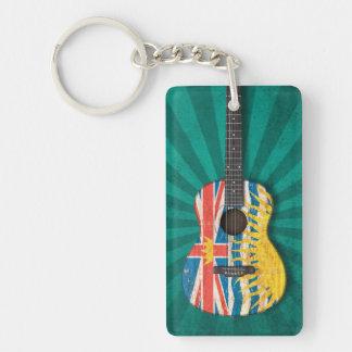 Worn British Columbia Flag Acoustic Guitar, teal Key Chain