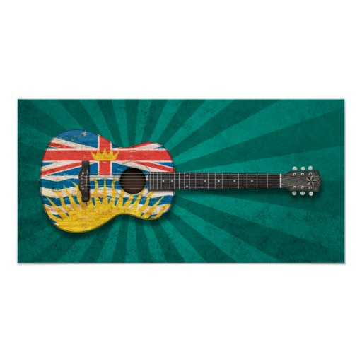 Worn British Columbia Flag Acoustic Guitar, teal Poster