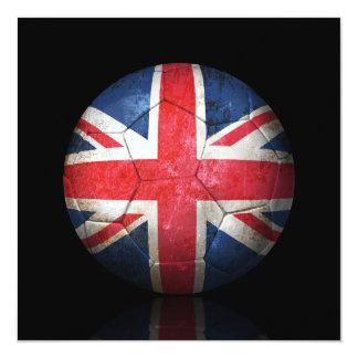 Worn British Flag Football Soccer Ball 13 Cm X 13 Cm Square Invitation Card