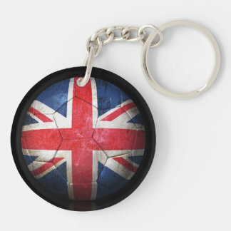 Worn British Flag Football Soccer Ball Double-Sided Round Acrylic Key Ring