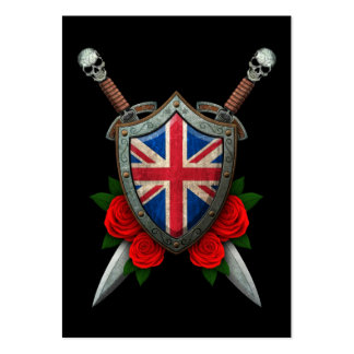 Worn British Flag Shield and Swords with Roses Pack Of Chubby Business Cards