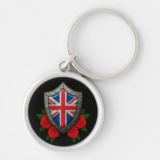 Worn British Flag Shield with Red Roses Key Chain