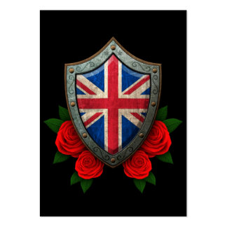 Worn British Flag Shield with Red Roses Pack Of Chubby Business Cards