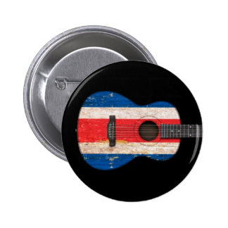 Worn Costa Rica Flag Acoustic Guitar, black Buttons