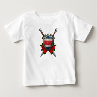 Worn Costa Rica Flag Shield and Swords with Roses Baby T-Shirt