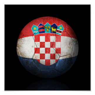 Worn Croatian Flag Football Soccer Ball Poster