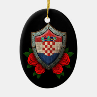 Worn Croatian Flag Shield with Red Roses Ceramic Ornament