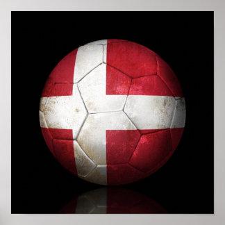 Worn Danish Flag Football Soccer Ball Poster