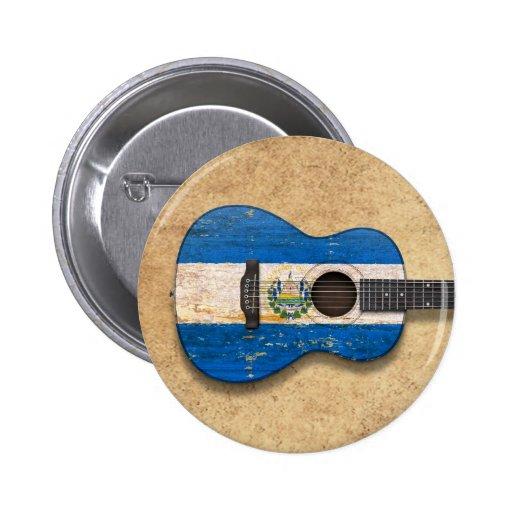 Worn El Salvador Flag Acoustic Guitar Pins