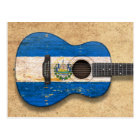 Worn El Salvador Flag Acoustic Guitar Postcard
