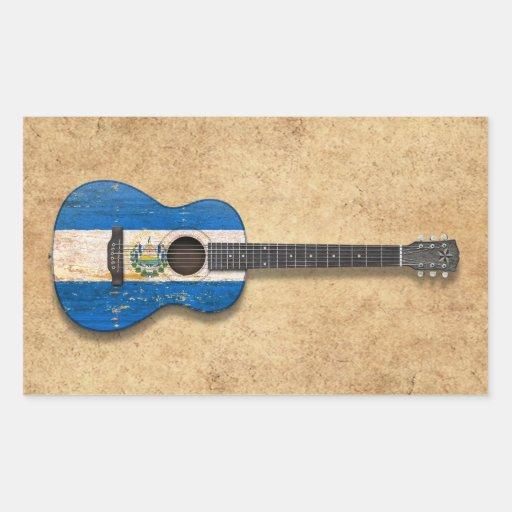 Worn El Salvador Flag Acoustic Guitar Stickers