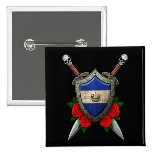 Worn El Salvador Flag Shield and Swords with Roses Pin