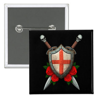Worn English Flag Shield and Swords with Roses Pins