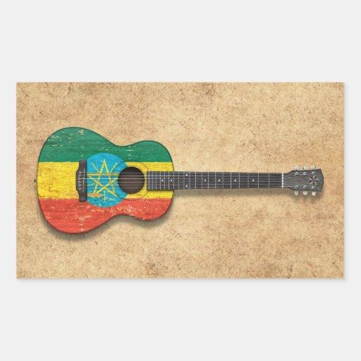 Worn Ethiopian Flag Acoustic Guitar Stickers