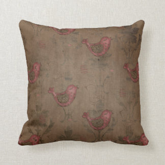 Worn & Faded Red Birds on Brown Background Pillow