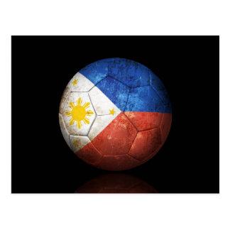 Worn Filipino Flag Football Soccer Ball Postcard