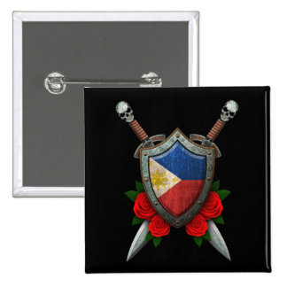 Worn Filipino Flag Shield and Swords with Roses Pinback Buttons