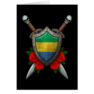 Worn Gabon Flag Shield and Swords with Roses Card