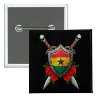 Worn Ghana Flag Shield and Swords with Roses Pinback Button