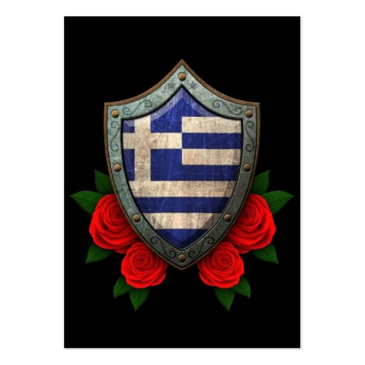 Worn Greek Flag Shield with Red Roses Business Card Template