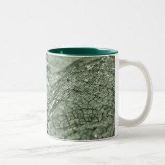 Worn green leaf 11 oz Two-Tone mug