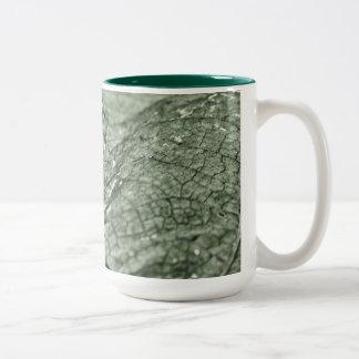 Worn green leaf 15 oz coffee mugs