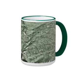 Worn green leaf 15 oz ringer mug