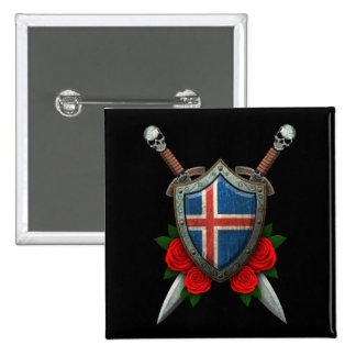 Worn Icelandic Flag Shield and Swords with Roses Pin
