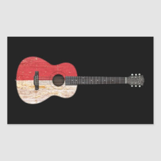 Worn Indonesian Flag Acoustic Guitar, black Sticker