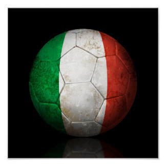 Worn Italian Flag Football Soccer Ball Posters