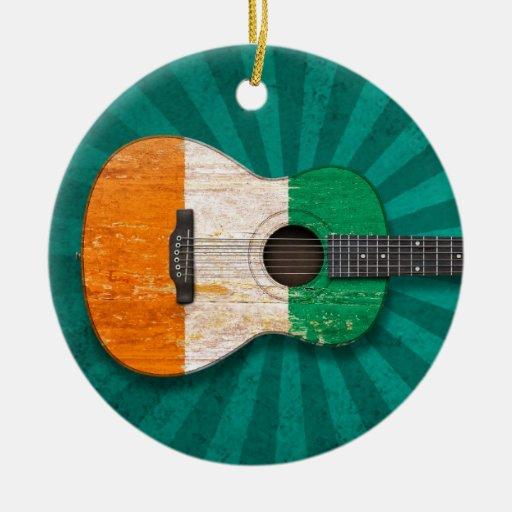 Worn Ivory Coast Flag Acoustic Guitar, teal Christmas Tree Ornament
