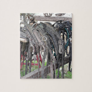 Worn leather horse bridles hanging on wooden fence jigsaw puzzle