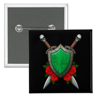 Worn Libyan Flag Shield and Swords with Roses Pins