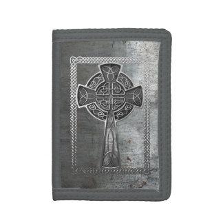 Worn Metal Cross Trifold Wallet