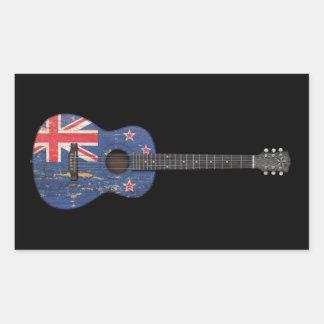 Worn New Zealand Flag Acoustic Guitar, black Rectangular Sticker