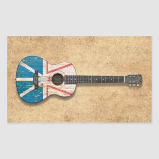 Worn Newfoundland Flag Acoustic Guitar Sticker