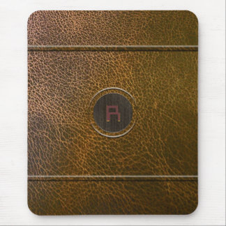 Worn Out Brown Leather Look-Custom Initial Mouse Pad