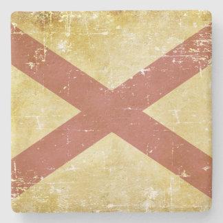 Worn Patriotic Alabama State Flag Stone Coaster