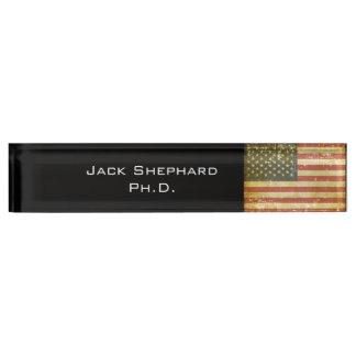 Worn Patriotic American Flag Nameplate