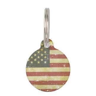 Worn Patriotic American Flag Pet Name Tag