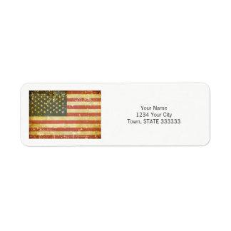 Worn Patriotic American Flag Return Address Label