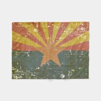 Worn Patriotic Arizona State Flag Fleece Blanket