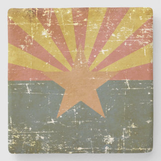 Worn Patriotic Arizona State Flag Stone Coaster