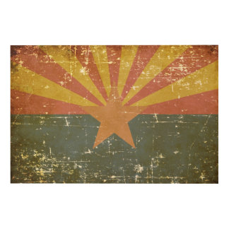 Worn Patriotic Arizona State Flag Wood Print