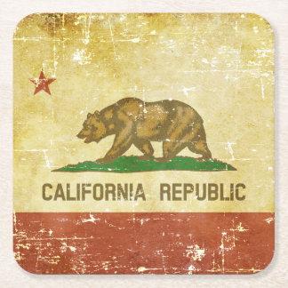 Worn Patriotic California State Flag Square Paper Coaster