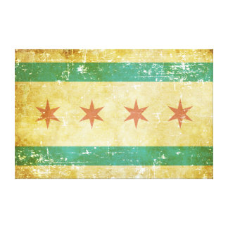 Worn Patriotic Chicago Flag Canvas Print
