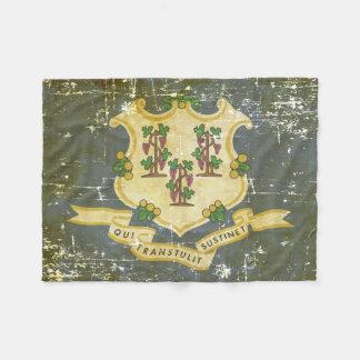 Worn Patriotic Connecticut State Flag Fleece Blanket