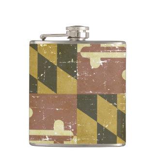 Worn Patriotic Maryland State Flag Hip Flask
