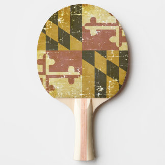 Worn Patriotic Maryland State Flag Ping Pong Paddle