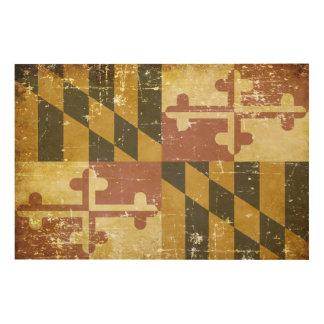 Worn Patriotic Maryland State Flag Wood Wall Art